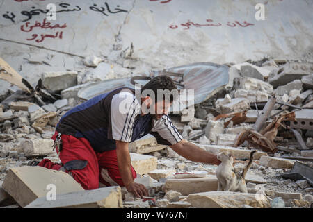 03 August 2019, Syria, Idlib: Mohammed Alaa al-Jaleel, also known as 'the cat man of Aleppo' helps away a cat from a the rubble of a bombed-out area in Khan Shaykhun, where he is searching for living cats to transport them to his Ernesto's Cat Sanctuary. During the Syrian war in 2012, Al-Jaleel was working as an ambulance driver in Aleppo, he used to drop off food for stray and abandoned cats on his way home after work. In 2015, he started to search for living cats in the war devastated areas and take them home, later in the year his compassionate work with cats gone viral and with the help of - Stock Photo