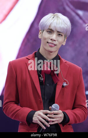 South Korean singer-songwriter Kim Jong-hyun, better known as Jonghyun, of South Korean boy group SHINee attends a promotional event for The Shilla, a - Stock Photo