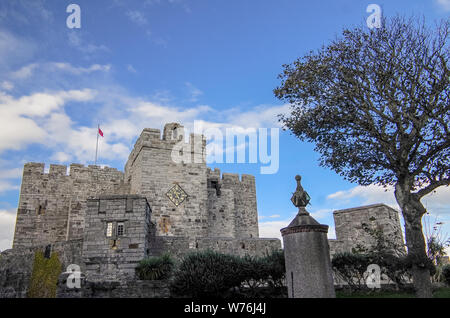 The Castle Rushen in Castletown in a clear blue sky, Isle of Man - Stock Photo