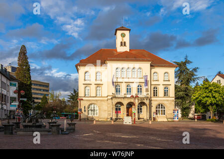 Sindelfingen, Baden Wurttemberg/Germany - May 11, 2019: Panorama of City Gallery building, Stadtgalerie and market fountain. - Stock Photo
