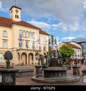 Sindelfingen, Baden Wurttemberg/Germany - May 11, 2019: City Gallery building, Stadtgalerie and market fountain. - Stock Photo