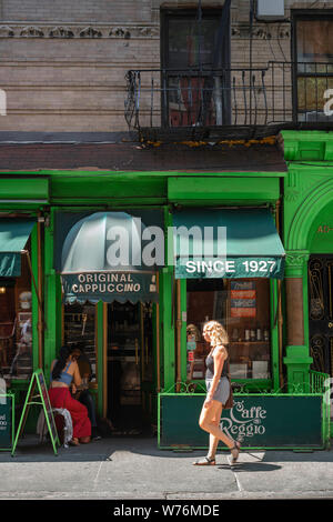 Cafe New York, view in summer of Caffe Reggio in MacDougal Street in the center of Greenwich Village (West Village), Manhattan, New York City, USA - Stock Photo