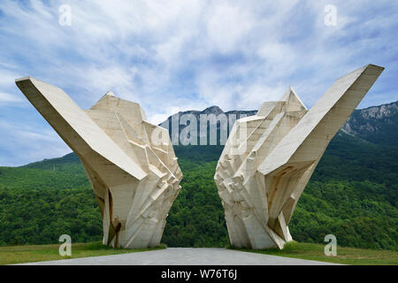 Sutjeska Monument, Tjentiste, Bosnia Herzegovina. A war memorial built to commemorate the fallen from the battle of Sutjeska in 1943 - Stock Photo