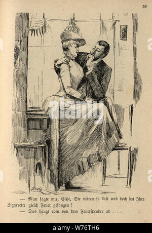 German cartoon of a man flirting with a beautiful woman, 19th Century - Stock Photo