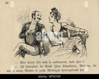 German cartoon of a couple flirting at the opera, 19th Century - Stock Photo