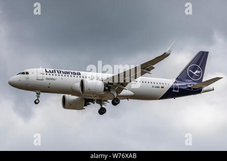 Lufthansa Airbus A320 NEO registration D-AINR, landing on August 2nd 2019 at London Heathrow Airport, Middlesex, UK - Stock Photo