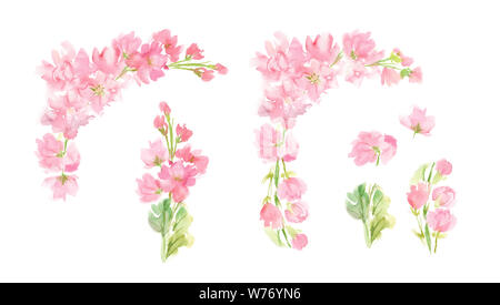 watercolor abstract floral set with pastel pink color flowers and leaves hand painted design elements in square arrangement for greeting wedding card - Stock Photo
