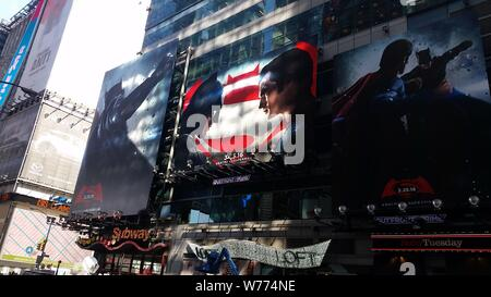 Advertising for the Warner Bros' 'Batman v Superman: Dawn of Justice' film in Times Square - New York - Stock Photo