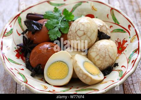 homemade tea eggs, Taiwanese food - Stock Photo