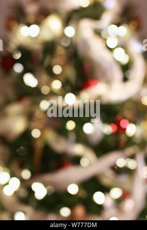 Abstract background of blurred golden holiday lights bokeh circles for Christmas background. - Stock Photo