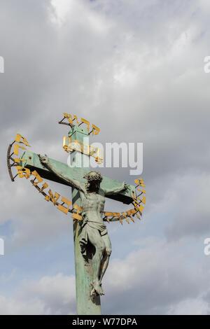 Prague, Czech Republic - September 22, 2018: sculptures of Charles Bridge, Karluv most - Stock Photo