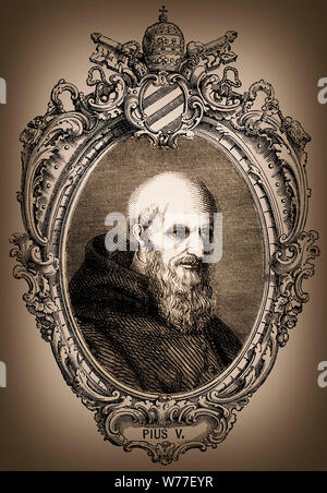 Pius V or Antonio Michele Ghislieri, 1504 - 1572, Pope of the Roman Catholic Church from 1566-1572 - Stock Photo