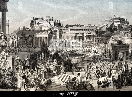 Persecution of Christians, in the Roman Empire, Reconstruction of the Roman Forum in ancient Rome - Stock Photo