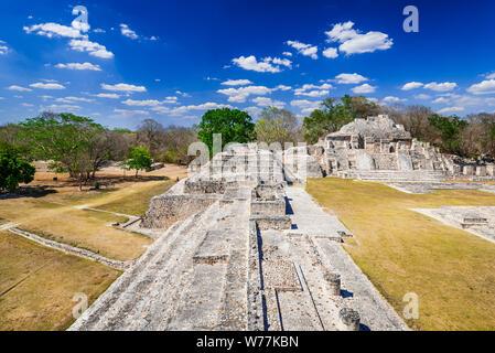 Famous Mayan city Edzna near by Campeche, Mexico - Yucatan Peninsula - Stock Photo