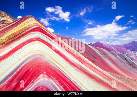 Vinicunca, Peru - Rainbow Mountain, Cordillera de los Andes, Cusco region in South America. - Stock Photo
