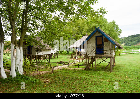 Wooden houses built on high stilts over the surface of the soil. - Stock Photo