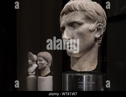 Bust of Augustus, Collection of Greek and Roman Antiquities exhibits, Kunsthistorisches Museum (Museum of Art History), Vienna, Austria - Stock Photo
