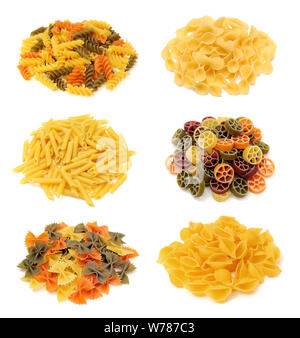 a group of pasta on white background - Stock Photo