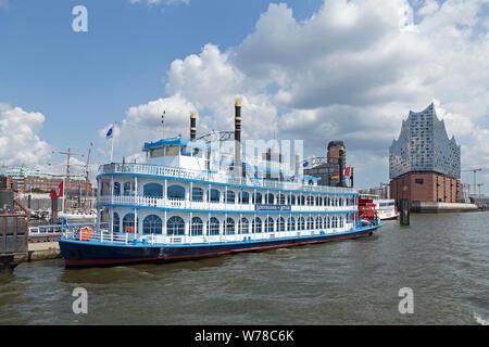 paddle steamer Louisiana Star and Elbe philharmonic hall, harbour, Hamburg, Germany - Stock Photo