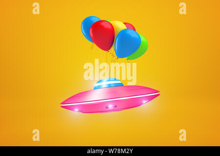 3d rendering of pink metal UFO with colorful balloons on yellow background. Science fiction. Extraterrestrial life. Objects and materials. - Stock Photo