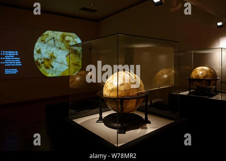 16th century terrestrial globe and celestial globe in the Mercator museum about the history of cartography, Sint-Niklaas, East Flanders, Belgium - Stock Photo