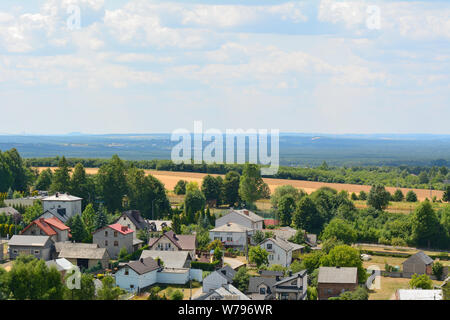 Podzamcze - a village in Poland located in the Silesian Voivodeship in the municipality of Ogrodzieniec. EuropeView of Podzamcze - a city in southern - Stock Photo