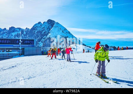 GOSAU, AUSTRIA - FEBRUARY 26, 2019: Zwieselalm ski resort, located in Dachstein West Alps of Salzkammergut, is perfect place for beginners and experie - Stock Photo
