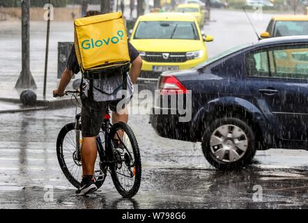 Bucharest, Romania - August 01, 2019: A Glovo food delivery