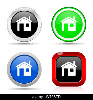 House red, blue, green and black web glossy icon set in 4 options - Stock Photo