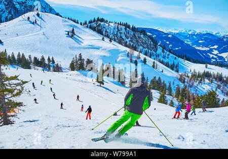 GOSAU, AUSTRIA - FEBRUARY 26, 2019:  Zwieselalm mount in Dachstein West Alps is popular ski resort of  Salzkammergut with attractive pistes and fantas - Stock Photo