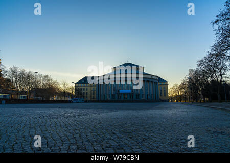 Germany, Saarbruecken theatre building in early morning sunrise light - Stock Photo