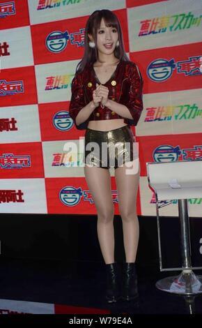 Japanese AV actress Kana Momonogi attends a fan meeting