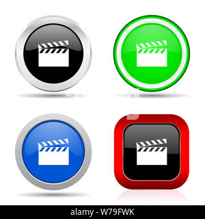 Video red, blue, green and black web glossy icon set in 4 options - Stock Photo