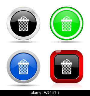 Trash, can red, blue, green and black web glossy icon set in 4 options - Stock Photo