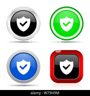 Shield red, blue, green and black web glossy icon set in 4 options - Stock Photo
