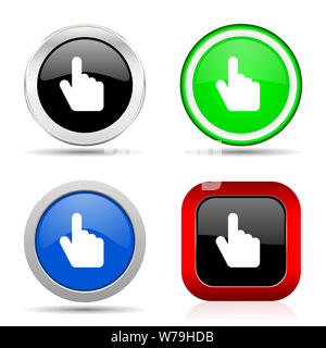 Cursor hand red, blue, green and black web glossy icon set in 4 options - Stock Photo