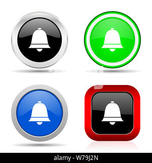 Bell, ring, alarm red, blue, green and black web glossy icon set in 4 options - Stock Photo