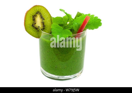Green smoothie of kiwi, banana and apple in hand - Stock Photo