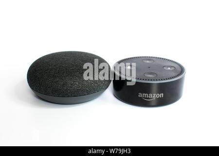 Google home mini and Alexa Echo Dot on white background