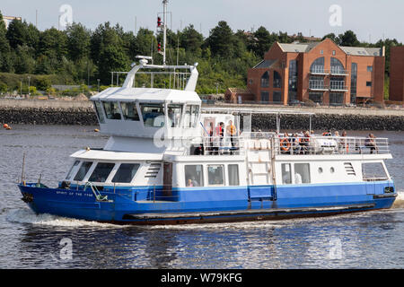 The Spirit of the Tyne passenger ferry approaching North Shields Ferry Terminal. This ferry runs a shuttle service to South Shields in Newcastle - Stock Photo