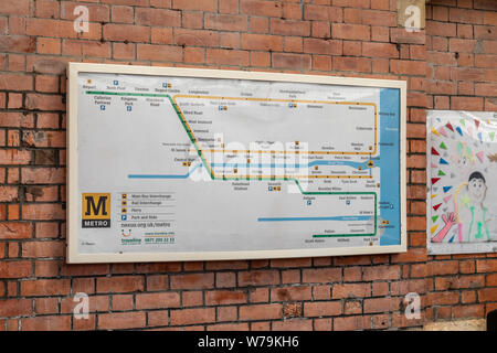The Tyne & Wear Metro Map on display on the wall at Cullercoats station in Newcastle - Stock Photo