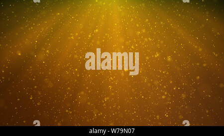 Abstract particles background of shining, sparkling yellow particles. Beautiful yellow floating dust particles with shine light, 3D Rendering - Stock Photo
