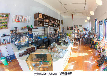 San Francisco, United States - February 27 2013: Coffee and certainly slow drip is cool and hip again. A hipster coffee bar. - Stock Photo