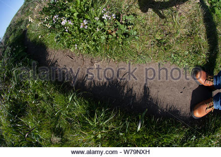 Point Reyes, United States - March 03, 2012 : A hiker / person on a trail seeing his hiking shoes and the grass growing over the path - Stock Photo