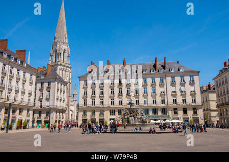 Nantes, France - May 12, 2019: Town square Place Royale de Nantes with the Basilique Saint-Nicolas in the background. Nantes, France - Stock Photo