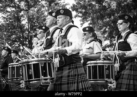 Fergus, Ontario, Canada - 08 11 2018: Drummers of the Pipes and Drums band paricipating in the Pipe Band contest held by Pipers and Pipe Band Society - Stock Photo