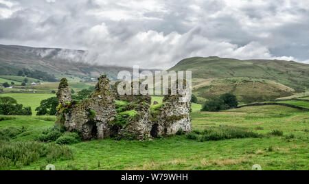 The ruined shell of medieval Lammerside Castle in the Eden Valley near Kirkby Stephen Cumbria UK - Stock Photo