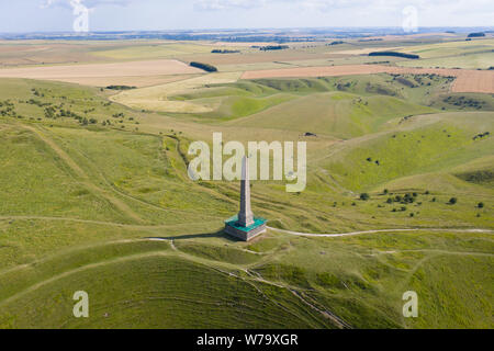 Cherhill, Wiltshire, UK. 16th July 2019. The Lansdowne Monument, also known as the Cherhill Monument, near Cherhill in Wiltshire, England. - Stock Photo