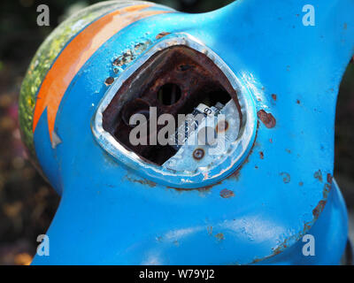 Closeup view of old rusty speedometer on moped. - Stock Photo