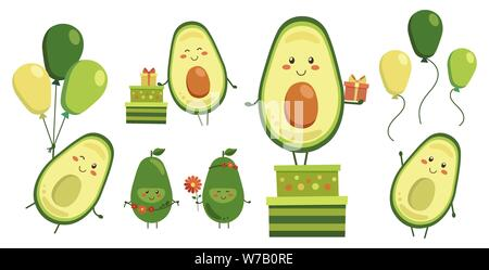 Diverse collection of vector cute smiling avocado heroes isolated on white. Set of fruit characters with flying yellow green balloons, gifts in boxes - Stock Photo